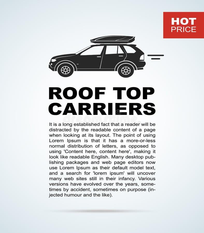 导航与汽车和行李架的飞行物 库存例证