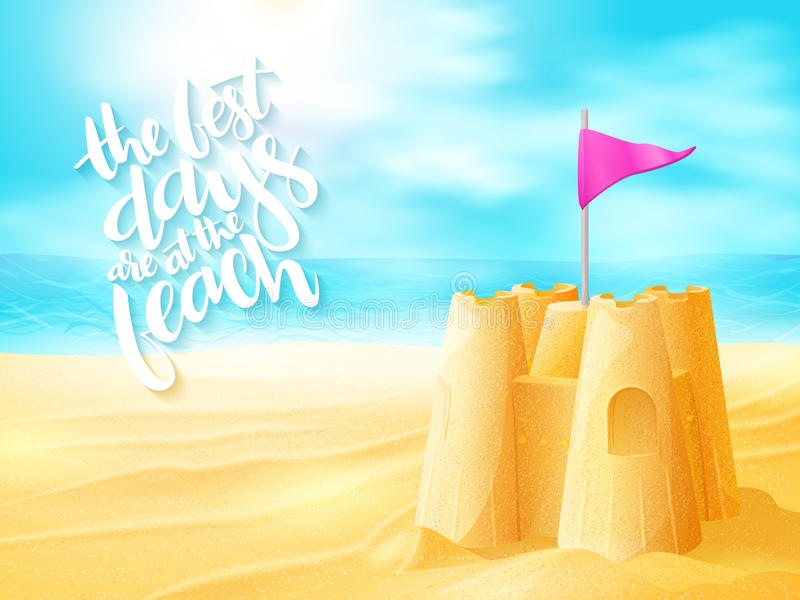 导航与沙子城堡的手字法夏天激动人心的词组在海海滩背景 向量例证