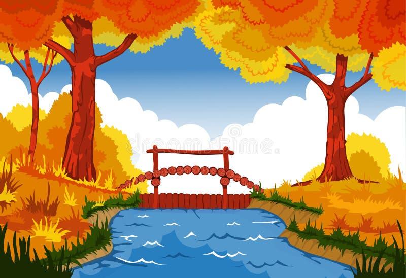 导航与河和桥梁的美好的森林风景 皇族释放例证
