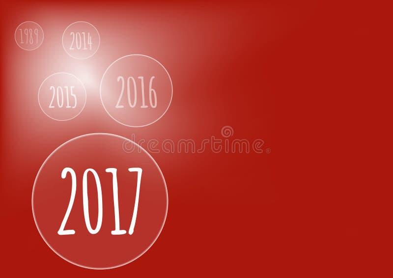 导航与泡影的现代minimalistic新年快乐2017红色庆祝卡片-红色被称呼的版本, eps储蓄图象 向量例证