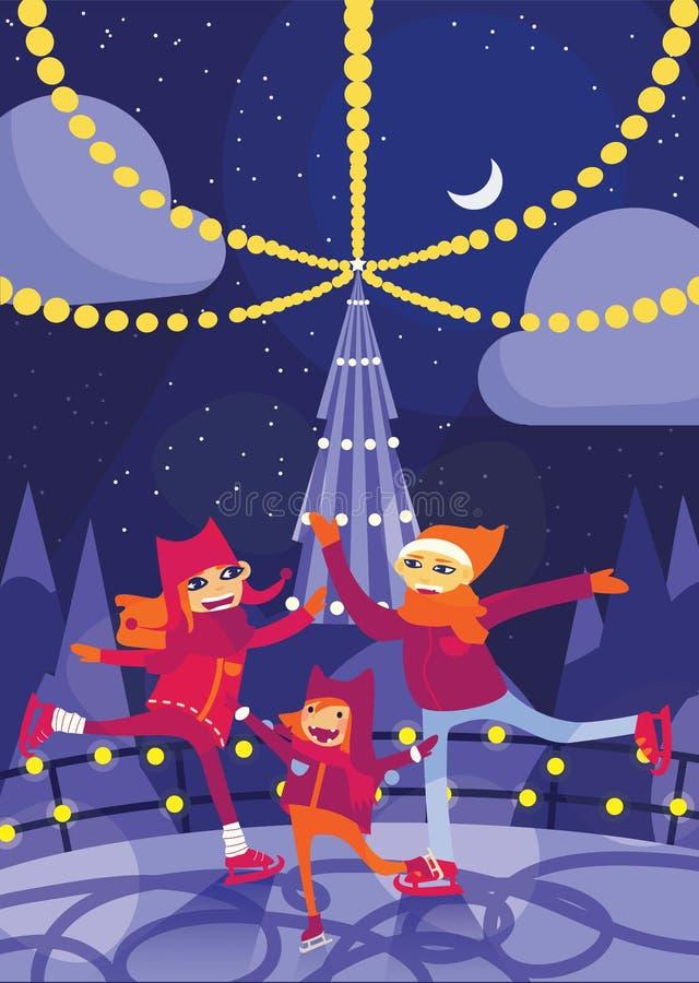 导航与滑冰在滑冰场的可爱的家庭的垂直的例证在圣诞夜里 与微笑的面孔的漫画人物 Chr 向量例证