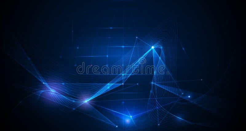 导航与滤网线和明亮的闪烁的抽象背景 库存例证