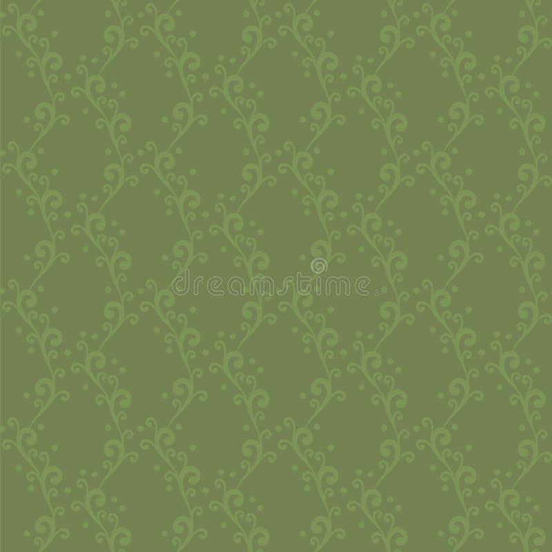 导航与漩涡的无缝的装饰品,并且小点扩大了垂直被编织的绿色花卉样式背景 皇族释放例证