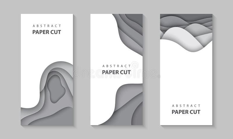 导航与灰色颜色纸的垂直的飞行物削减波形 3D抽象纸样式,企业介绍的设计版面, 向量例证