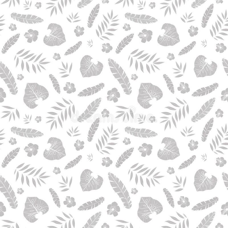 导航与热带植物、叶子和木槿花的银灰色热带夏天夏威夷无缝的样式在白色 库存例证