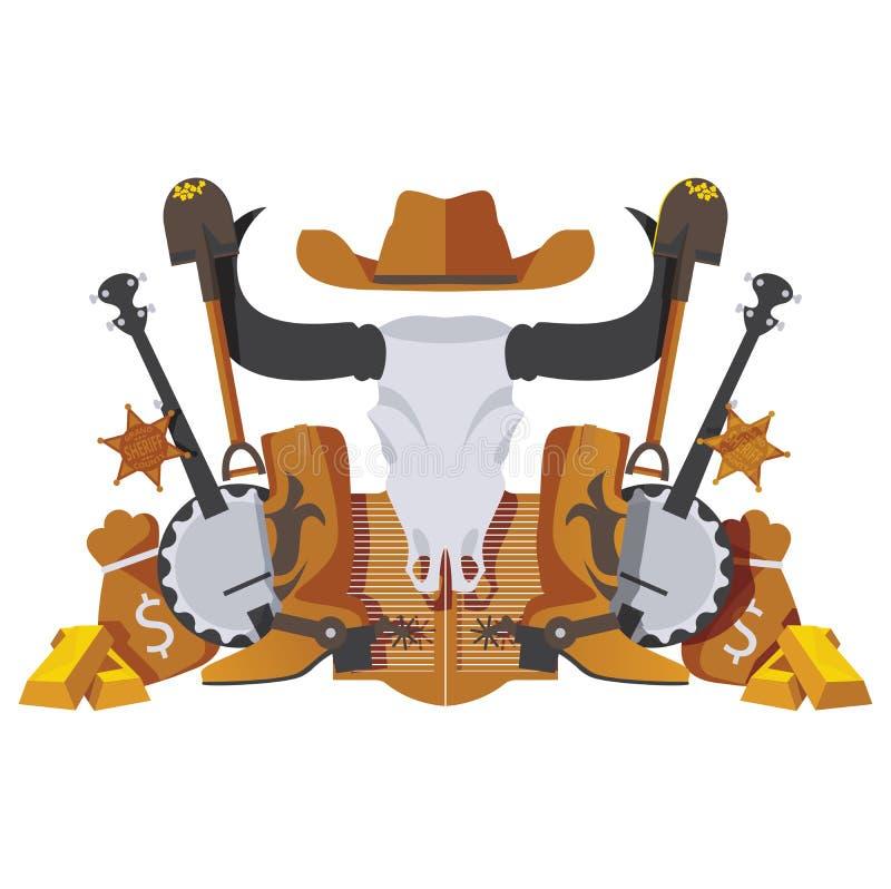 导航与狂放的西部牛仔对象的对称场面象短桨、金钱、淘金热在白色和班卓琵琶隔绝的物品、起动 库存例证
