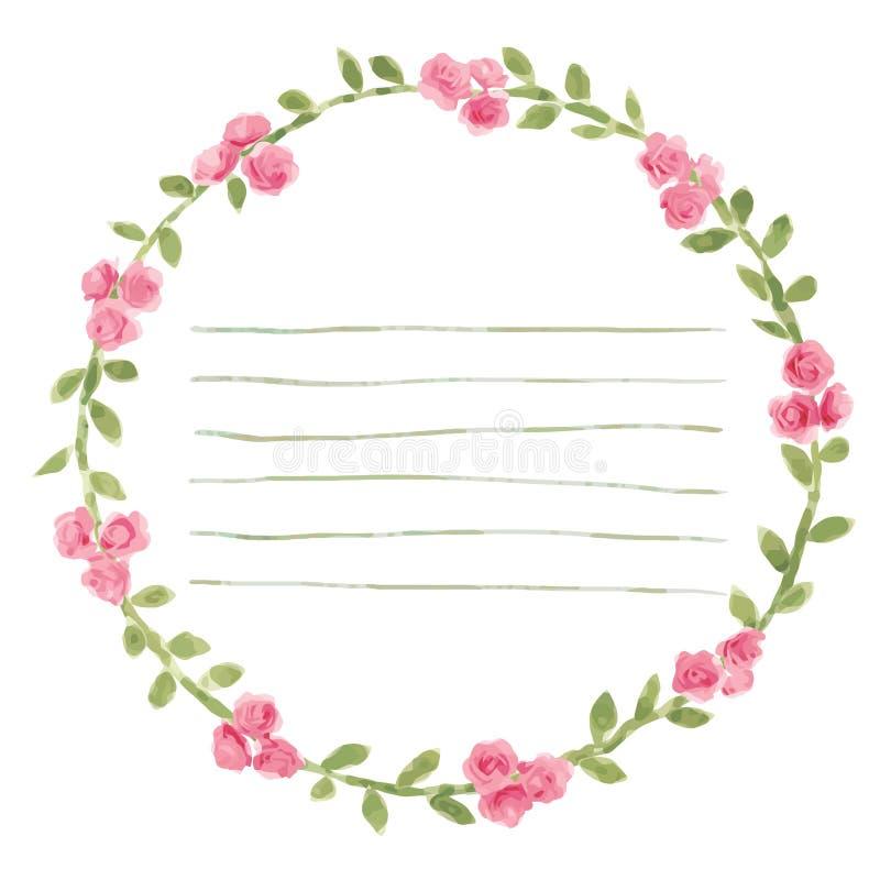 导航与玫瑰和叶子元素的水彩圆的框架 手凹道花卉边界 库存例证