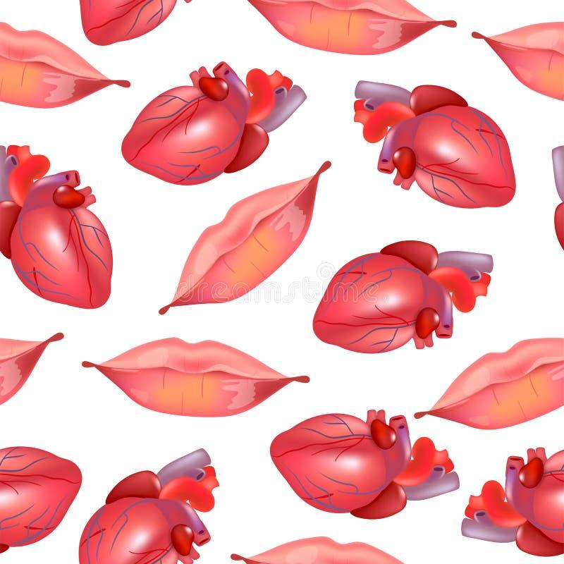 导航与现实红色嘴唇,心脏的无缝的背景 方式例证 嘴唇印刷品包装纸 好为 向量例证