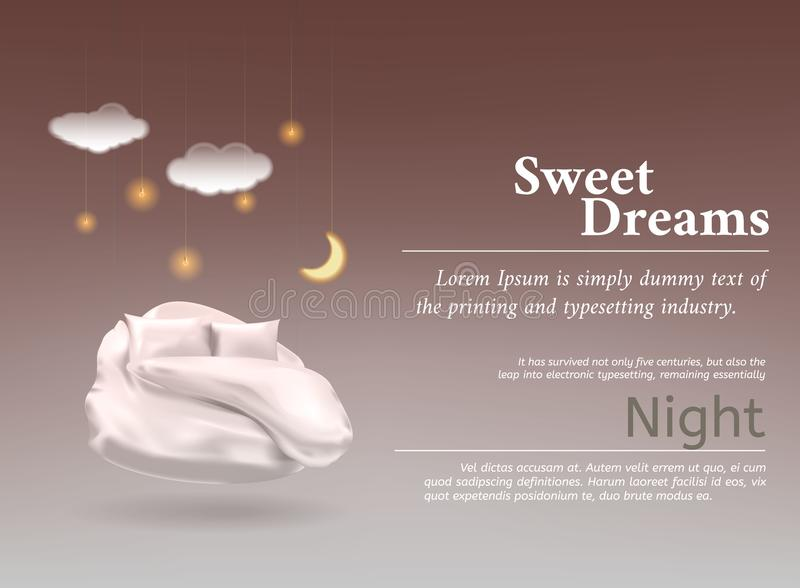 导航与现实3D柔和的淡色彩,毯子,最佳的睡眠的,舒适的睡眠枕头的例证 向量例证