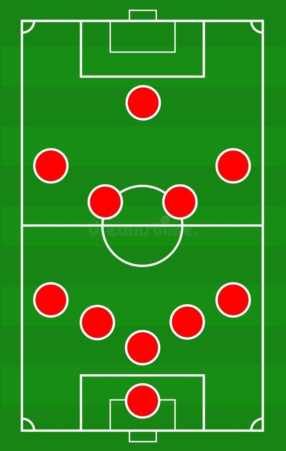 导航与球员的安排的足球场比赛的 足球运动员的职称绿色领域模板的 皇族释放例证