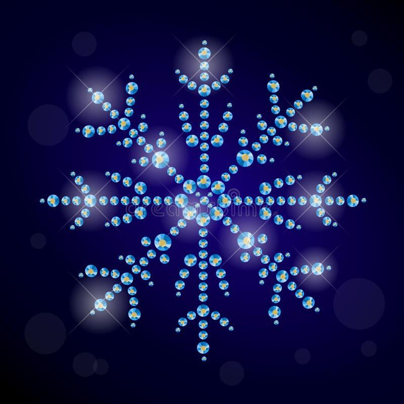 导航与用假钻石做的雪花的冬天例证 向量例证