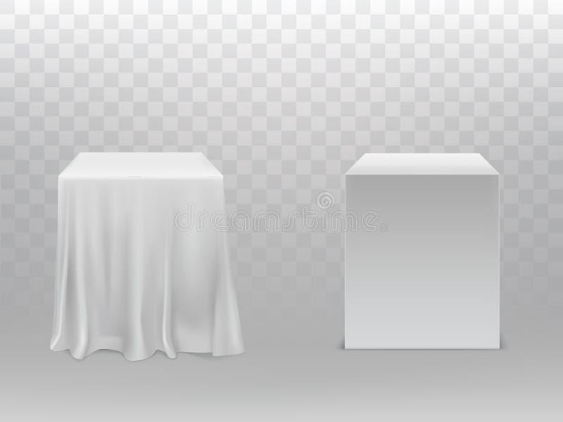 导航与白色立方体、块或者箱子的大模型 向量例证