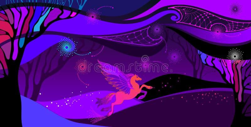 导航与神话佩格瑟斯的紫外风景在桔子和桃红色 Ð与空间多云天空、领域和树的¡ omposition 库存例证