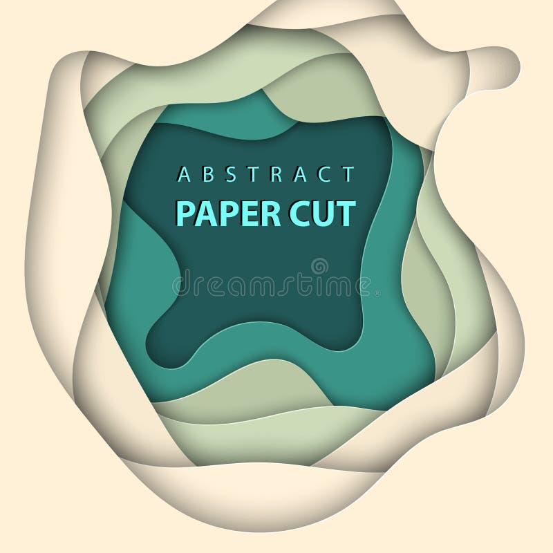 导航与米黄和绿色纸裁减形状的背景 3D抽象纸艺术样式,企业presentatio的设计版面 库存例证