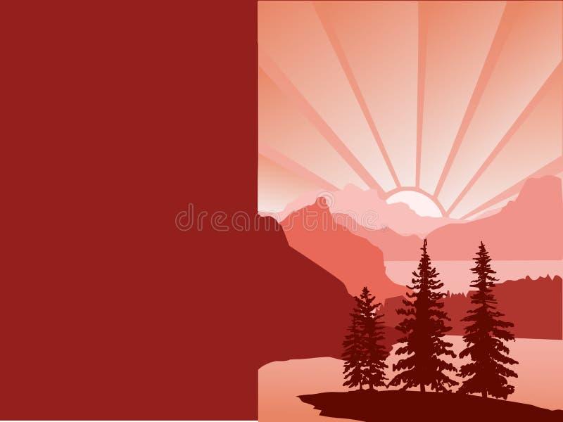 导航与红色剪影风景日历的,文本的空白, 皇族释放例证