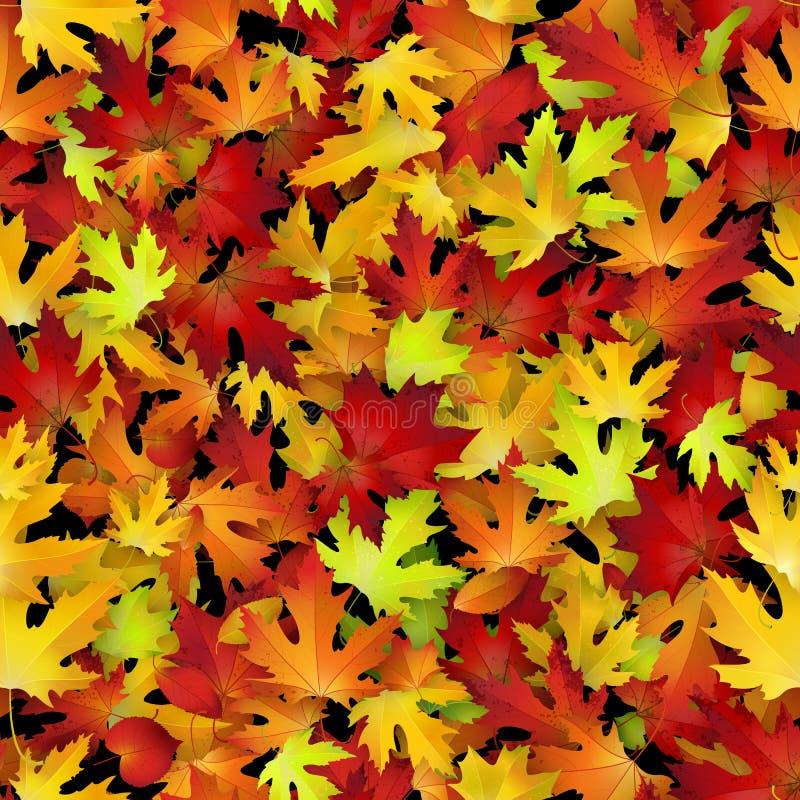 导航与红色和黄色秋叶的无缝的样式 库存例证