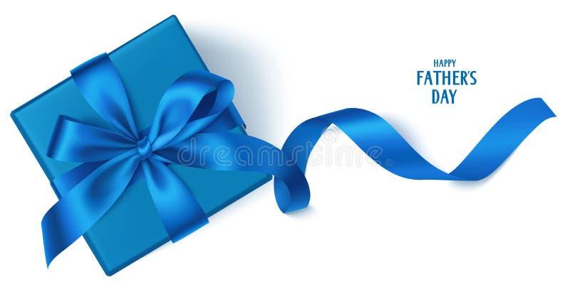 导航与美丽的装饰礼物盒、蓝色弓和长的丝带的模板 愉快的父亲` s天背景 库存例证