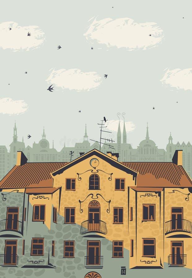 导航与老镇的屋顶的风景 向量例证