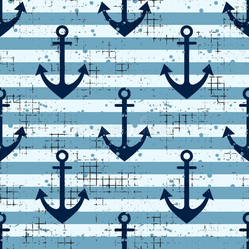 导航与船锚,水平线创造性的几何葡萄酒背景,船舶题材图表il的无缝的样式背景 向量例证