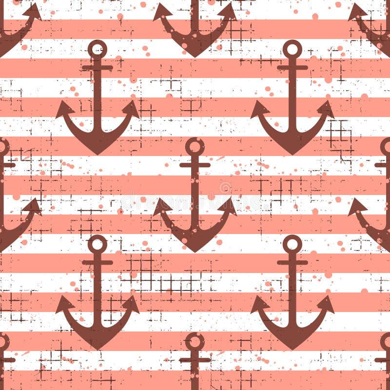 导航与船锚,水平线创造性的几何葡萄酒背景,船舶题材图表il的无缝的样式背景 皇族释放例证