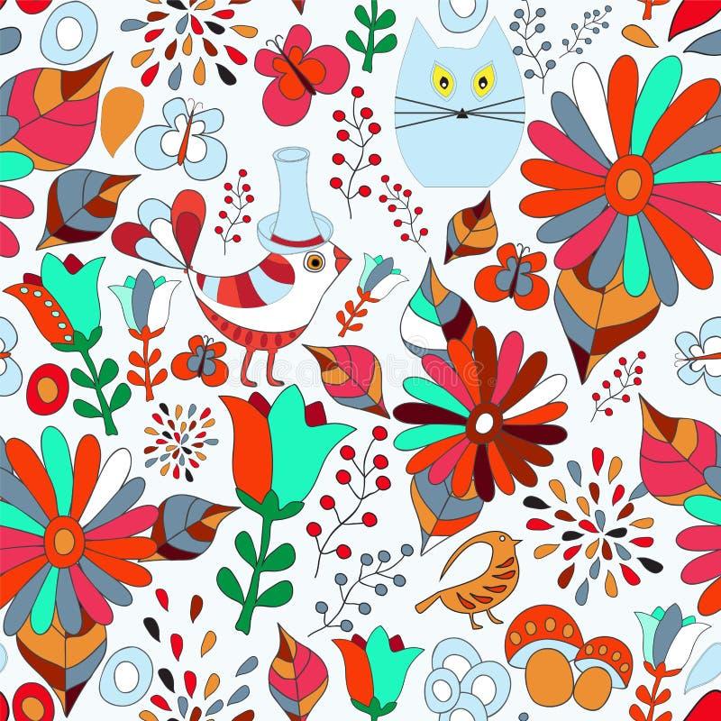 导航与花、鸟和蝴蝶,动画片的无缝的样式 库存例证