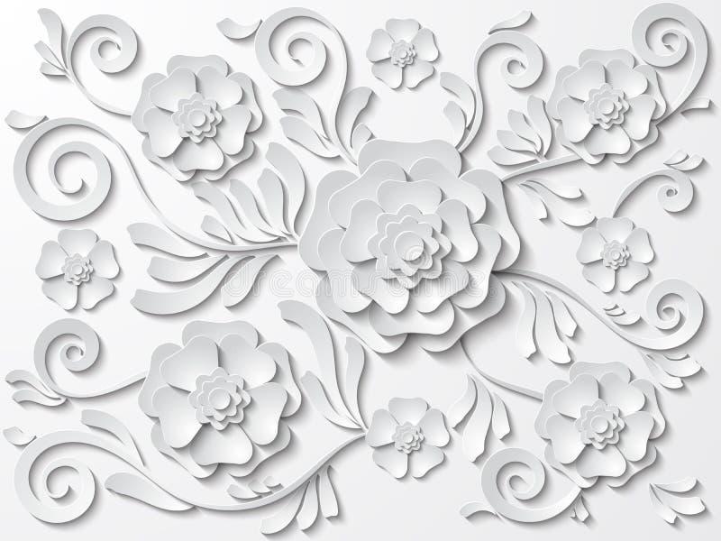 导航与花和叶子的美好的白色花卉背景 向量例证
