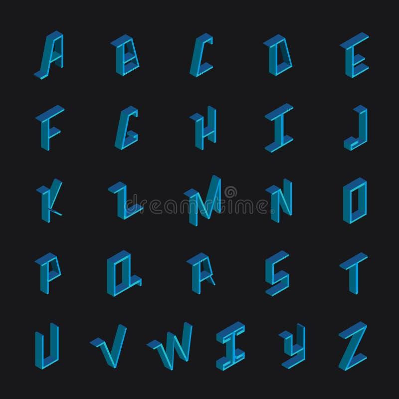 导航与蓝色明亮的英国字体的汇集在几何等量样式 库存例证