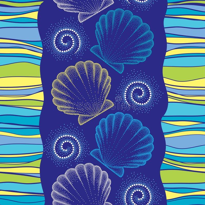 导航与被加点的海壳的无缝的样式或加调料烘烤在与漩涡和条纹的蓝色背景 蓝色海洋海运无缝的主题 库存例证