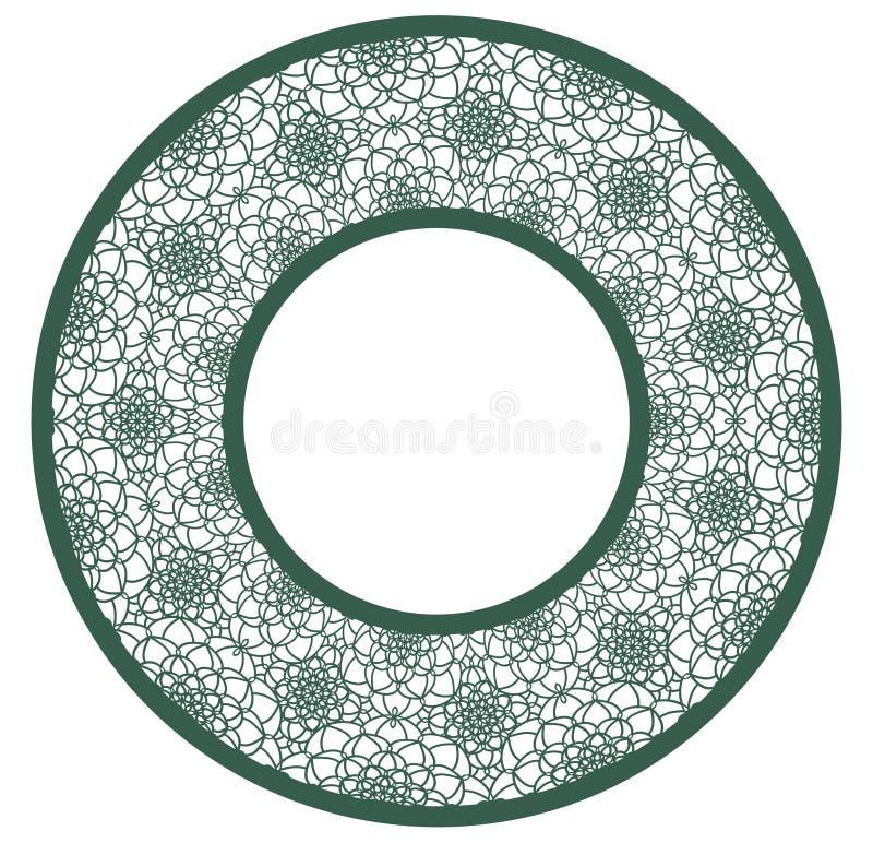 导航与被雕刻的透雕细工样式的钢板蜡纸有花边的圆的框架 室内设计的模板,装饰艺术反对等 图象衣服 向量例证