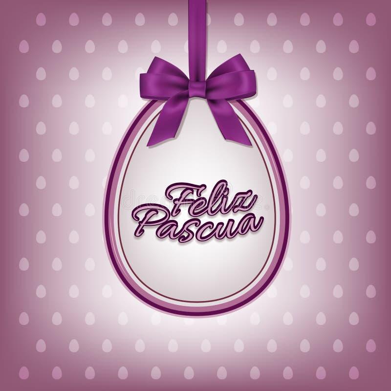 导航与西班牙人Feliz Pascua文本的愉快的复活节贺卡模板 向量例证