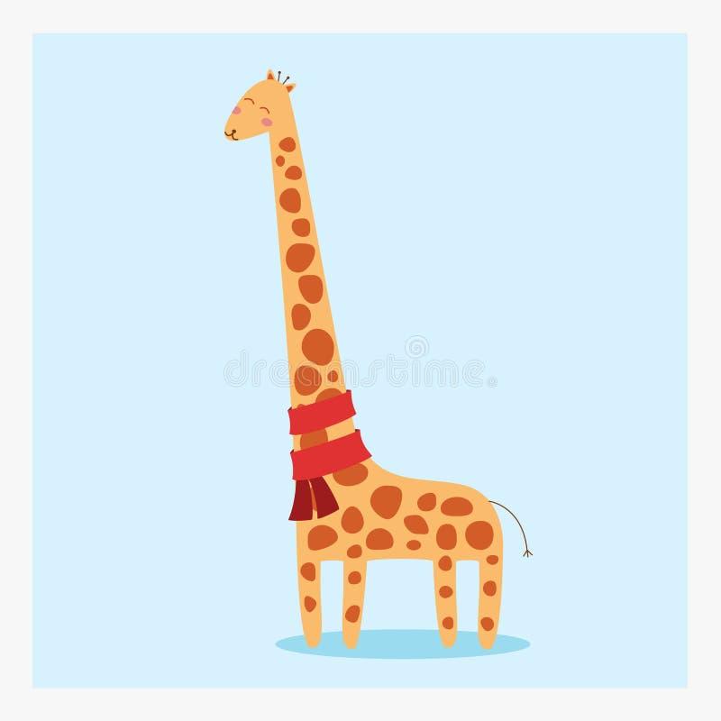 导航与许多褐斑病和红色围巾的逗人喜爱的愉快的平的野生动物长颈鹿 免版税库存照片