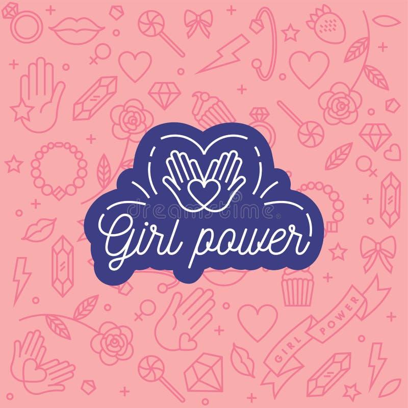 导航与象和手字法词组的样式与女孩力量有关和女权运动-抽象背景 向量例证