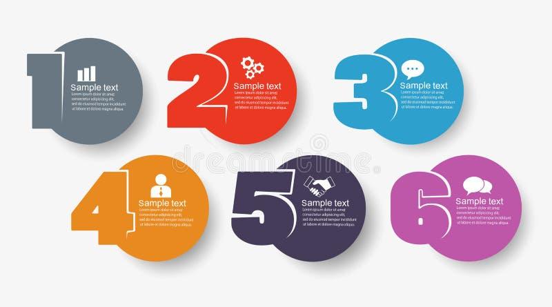 导航与象的最小的Infographic设计模板和6选择或者步 向量例证