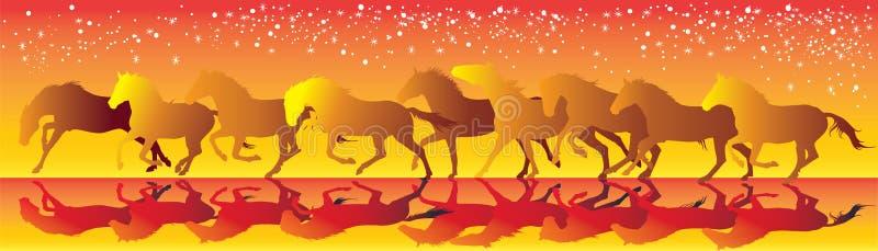 导航与跑疾驰的马的黄色和红色背景 皇族释放例证