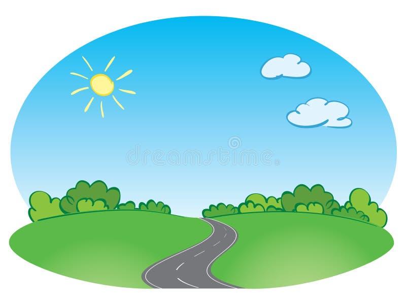导航与路和蓝天的绿色风景 向量例证