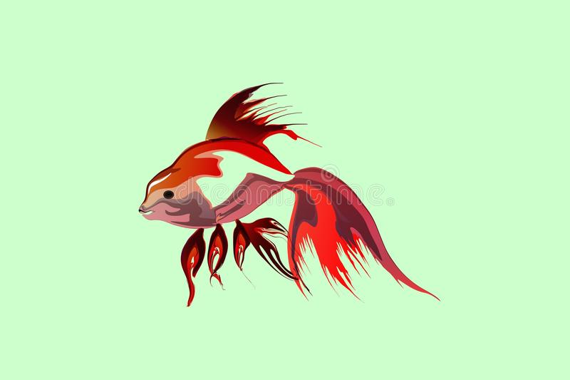 导航与轻的背景墙纸的抽象五颜六色的鱼 库存例证