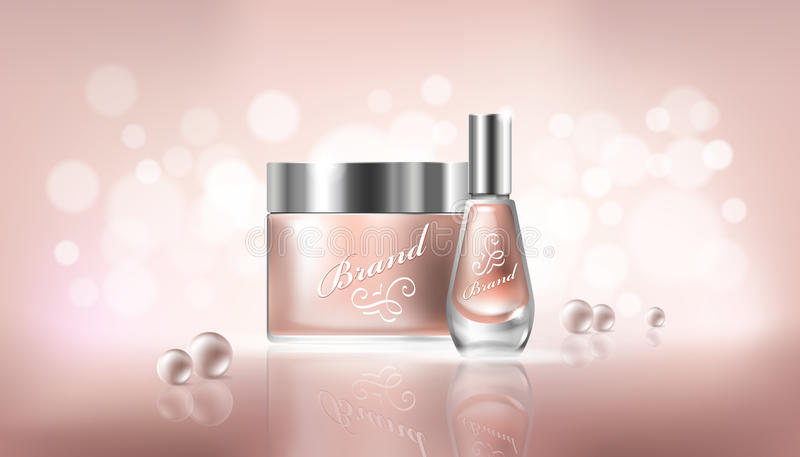 导航与透明玻璃化妆容器的海报化妆水、手奶油和表皮去膜剂的,指甲油 向量例证
