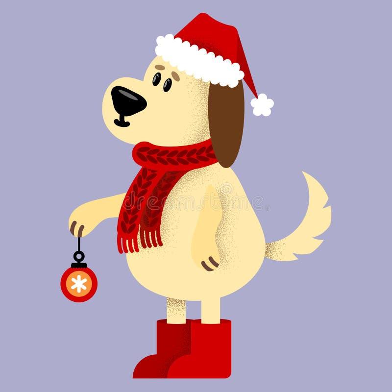 导航与逗人喜爱的动画片剪影狗的例证与红色圣诞老人帽子 库存例证