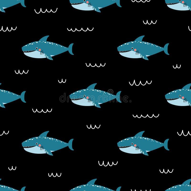 导航与逗人喜爱的鲨鱼的幼稚无缝的样式在黑backgroundÑŽ 向量例证