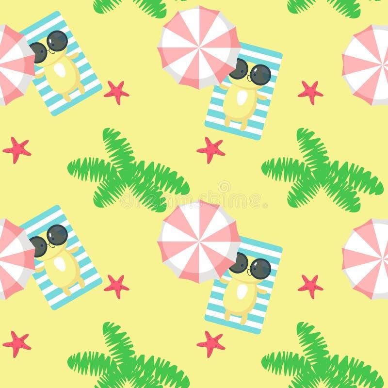 导航与采取海滩的逗人喜爱的猫的无缝的样式基于 夏天海滩背景,墙纸,织品,包装纸 向量例证