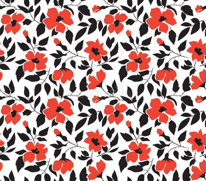 导航与野生玫瑰的无缝的背景,葡萄酒样式 手拉的织品设计 时髦的明亮的花卉无缝的样式 库存例证