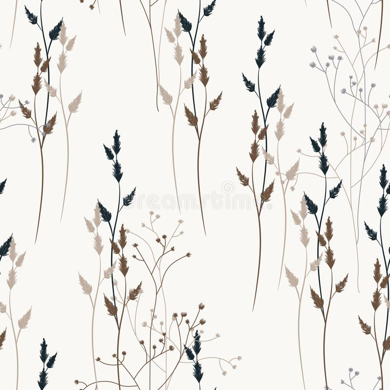 导航与野生草甸花、草本和草的花卉无缝的样式 向量例证