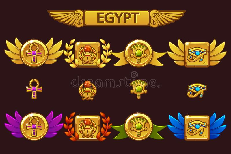 导航与金龟子、眼睛、花和十字架的埃及奖 接受与上色的动画片比赛成就珍贵 向量例证