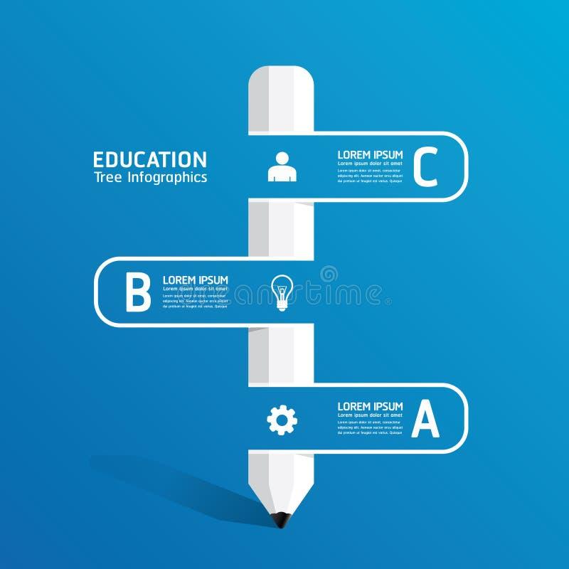 导航与铅笔丝带线的创造性的infographic模板 库存例证