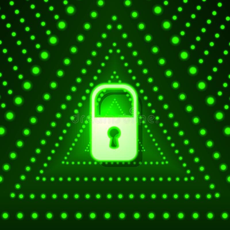 导航与锁和绿色三角,技术未来派背景,鲜绿色的光的发光的背景 库存例证