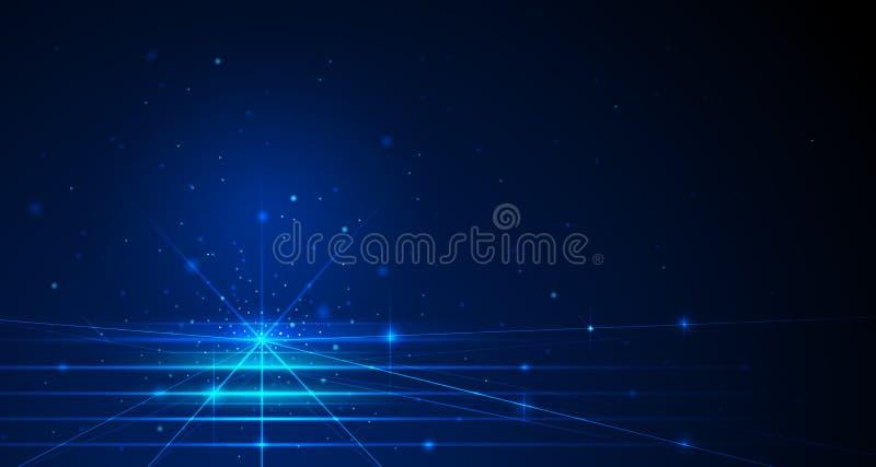 导航与闪闪发光的例证蓝线在空间和深蓝颜色背景 皇族释放例证