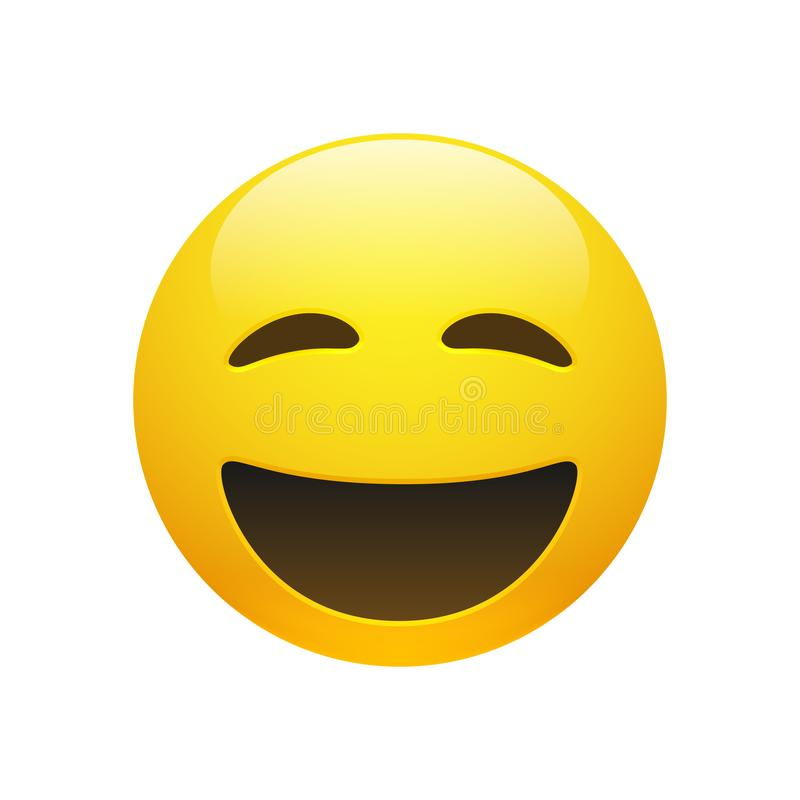 导航与闭合的眼睛的Emoji黄色兴高采烈的面孔 向量例证