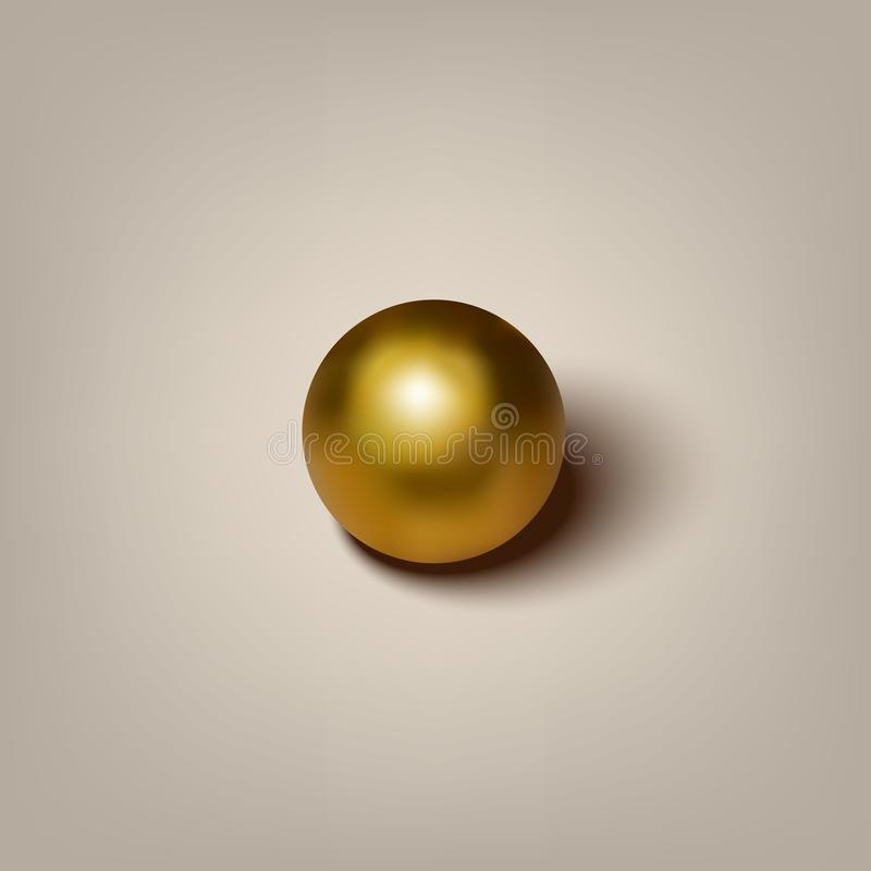 导航与阴影的现实金黄球在灰色背景 向量例证
