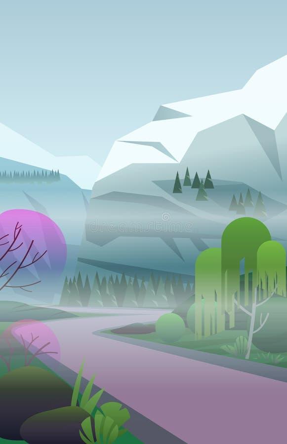 导航与雾,有绿色树的遥远的路的垂直的风景在多雪的山中在蓝天下 库存例证