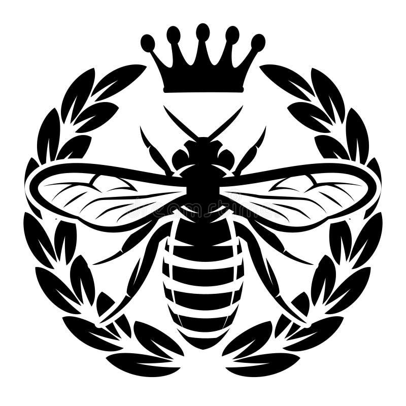 导航与飞行蜂和冠的单色样式 向量例证